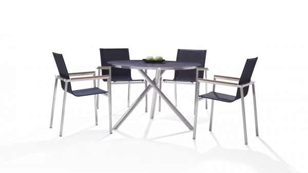 Stainless steel dining group set pamplona 4 - black