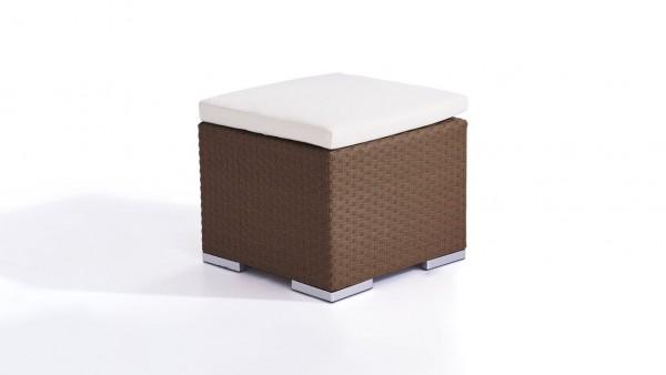 Polyrattan Cube Hocker 50 cm - nussbraun