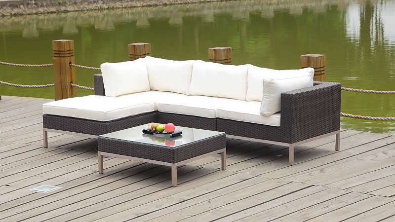 Rattan Set Nizza Weiss Gartenmoebel Lounge Living Zone